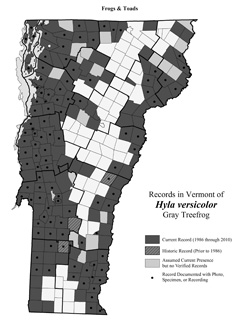 Distribution of Hyla versicolor in Vermont