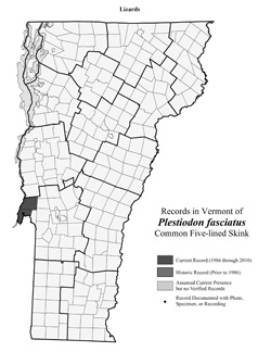 Distribution of P. fasciatus (was Eumeces fasciatus) in Vermont