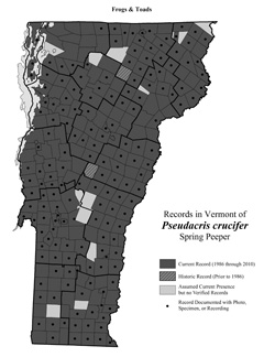 Distribution of Pseudacris crucifer in Vermont