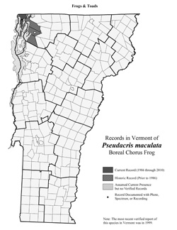 Distribution of Pseudacris triseriata in Vermont